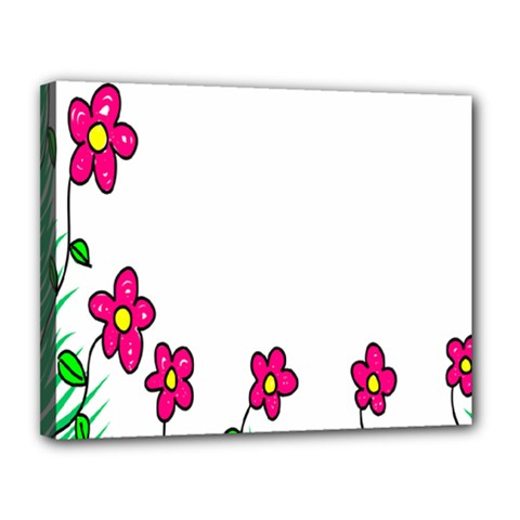 Floral Doodle Flower Border Cartoon Canvas 14  x 11