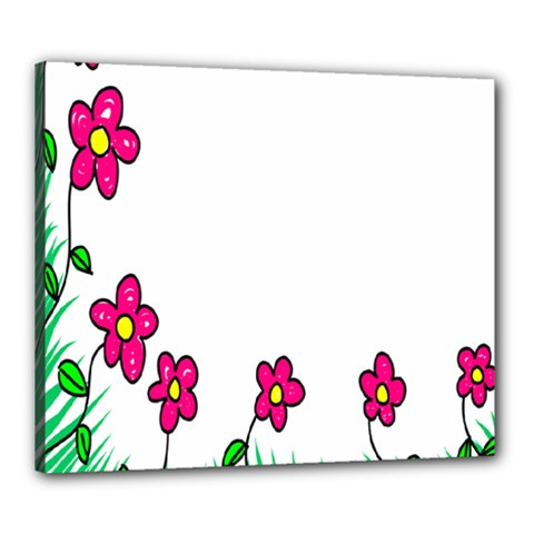 Floral Doodle Flower Border Cartoon Canvas 24  x 20