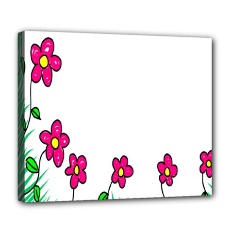 Floral Doodle Flower Border Cartoon Deluxe Canvas 24  x 20