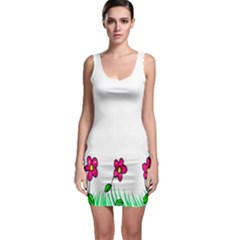 Floral Doodle Flower Border Cartoon Sleeveless Bodycon Dress