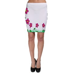 Floral Doodle Flower Border Cartoon Bodycon Skirt