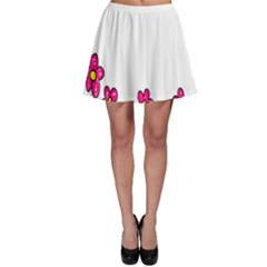 Floral Doodle Flower Border Cartoon Skater Skirt