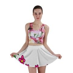 Floral Doodle Flower Border Cartoon Mini Skirt