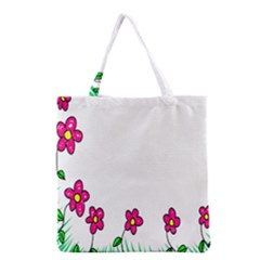 Floral Doodle Flower Border Cartoon Grocery Tote Bag