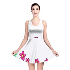 Floral Doodle Flower Border Cartoon Reversible Skater Dress
