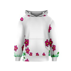 Floral Doodle Flower Border Cartoon Kids  Pullover Hoodie