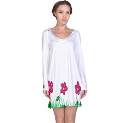 Floral Doodle Flower Border Cartoon Long Sleeve Nightdress