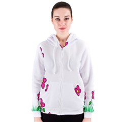 Floral Doodle Flower Border Cartoon Women s Zipper Hoodie
