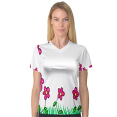 Floral Doodle Flower Border Cartoon Women s V-Neck Sport Mesh Tee