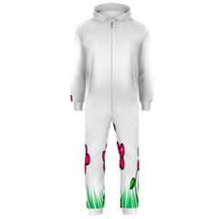 Floral Doodle Flower Border Cartoon Hooded Jumpsuit (Men)