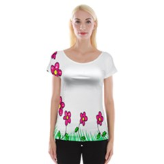 Floral Doodle Flower Border Cartoon Women s Cap Sleeve Top