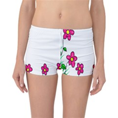 Floral Doodle Flower Border Cartoon Reversible Bikini Bottoms