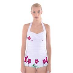 Floral Doodle Flower Border Cartoon Boyleg Halter Swimsuit