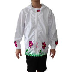 Floral Doodle Flower Border Cartoon Hooded Wind Breaker (kids)