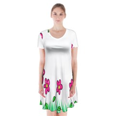 Floral Doodle Flower Border Cartoon Short Sleeve V-neck Flare Dress