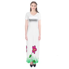 Floral Doodle Flower Border Cartoon Short Sleeve Maxi Dress