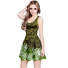 Dark Gold Green Flowers Reversible Sleeveless Dress