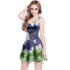 Dark Slate Blue Spring Flower Reversible Sleeveless Dress
