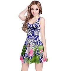 Blue & Green Spring Flower Reversible Sleeveless Dress