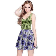 Green & Violet Spring Flower Reversible Sleeveless Dress