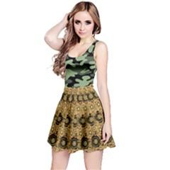 Camoflage Dark Gold Spring Flower Reversible Sleeveless Dress