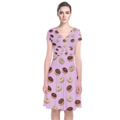 Donuts pattern Short Sleeve Front Wrap Dress