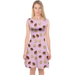 Donuts pattern Capsleeve Midi Dress