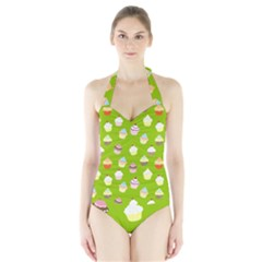 Cupcakes pattern Halter Swimsuit