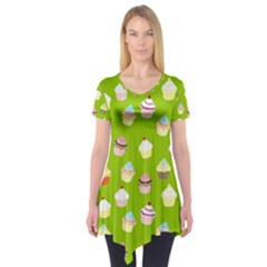 Cupcakes Pattern Short Sleeve Tunic