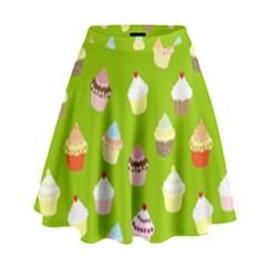 Cupcakes pattern High Waist Skirt