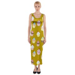 Cupcakes pattern Fitted Maxi Dress