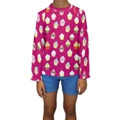 Cupcakes pattern Kids  Long Sleeve Swimwear