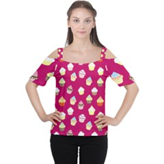 Cupcakes pattern Women s Cutout Shoulder Tee