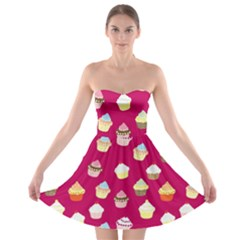 Cupcakes pattern Strapless Bra Top Dress