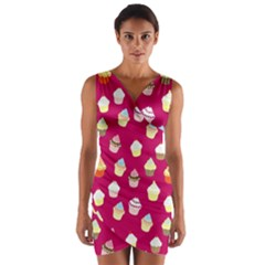 Cupcakes pattern Wrap Front Bodycon Dress