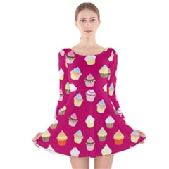 Cupcakes pattern Long Sleeve Velvet Skater Dress
