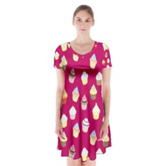 Cupcakes pattern Short Sleeve V-neck Flare Dress
