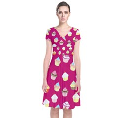 Cupcakes pattern Short Sleeve Front Wrap Dress