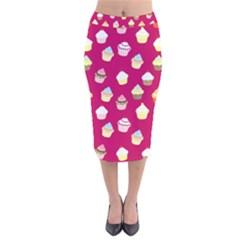Cupcakes pattern Velvet Midi Pencil Skirt