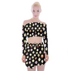Cupcakes pattern Off Shoulder Top with Skirt Set