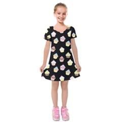 Cupcakes pattern Kids  Short Sleeve Velvet Dress