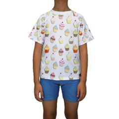 Cupcakes pattern Kids  Short Sleeve Swimwear