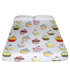 Cupcakes pattern Fitted Sheet (California King Size)