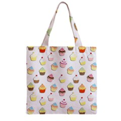 Cupcakes pattern Zipper Grocery Tote Bag