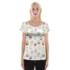 Cupcakes pattern Women s Cap Sleeve Top