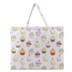 Cupcakes pattern Zipper Large Tote Bag