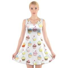 Cupcakes pattern V-Neck Sleeveless Skater Dress