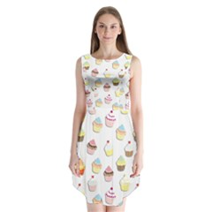 Cupcakes pattern Sleeveless Chiffon Dress