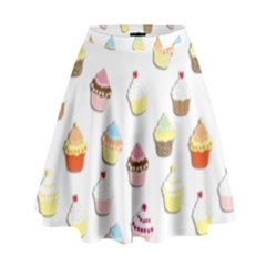 Cupcakes pattern High Waist Skirt