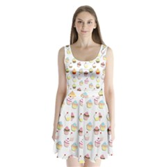 Cupcakes pattern Split Back Mini Dress